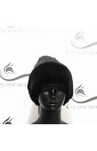 Вязанная серая шапка со вставками из норки Д14