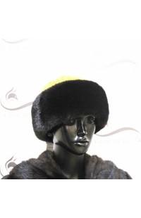 Боярка из норки со вставками из желтой ткани Д13