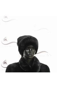 Вязанная черная шапка со вставками из норки Д15