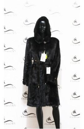 Шуба из цельной норки черного цвета с поясом БУ.