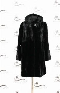 Черная норковая шуба с капюшоном новая 1058