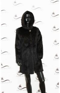 Норковая шуба черная с капюшоном БУ 1145
