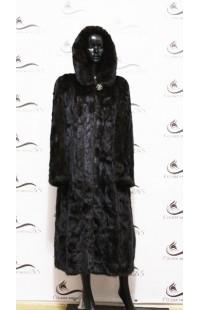 Длинная шуба из норки черного цвета БУ 1214