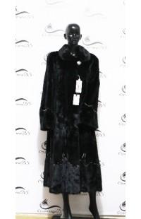 Стриженная норковая шуба черного цвета БУ 1278