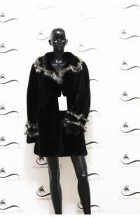 Приталенная шуба из цельной норки с меховыми вставками БУ 1289