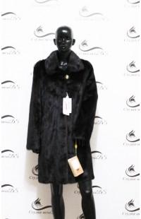 Шуба из норки черного цвета с воротником из меха новая 1298