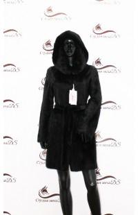 Укороченная черная норковая шуба БУ 1346