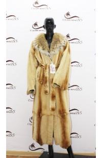 Длинное пальто из стриженной норки и рыси 1349 БУ