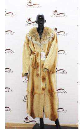 Длинное пальто из стриженной норки и рыси