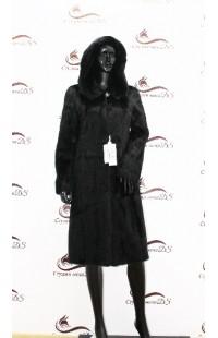 Укороченная черная норковая шуба с капюшоном БУ 1365