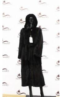 Черная шуба из цельной норки с капюшоном БУ 1371