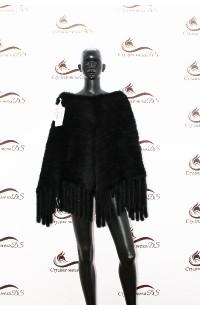 Пончо из вязаной норки БУ 1373