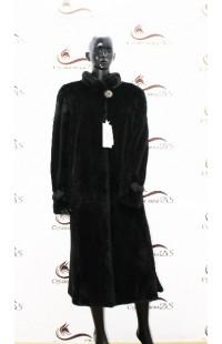 Черная шуба из цельной стриженной норки БУ 1374
