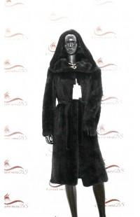 Черная шуба из цельной норки с поясом БУ 1376