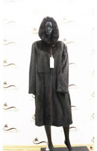 норковая шуба с капюшоном большого размер 1380