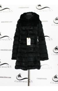 Черная шуба из кролика с длинными рукавами новая к5
